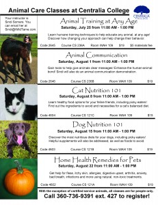 Animal Care Classes Summer 2015 REVISED - Centralia College (2)