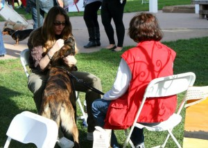 Sindi and dog and dog's mom in an animal communication session
