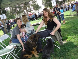 sindi at blessing of animals event with Nichole and doggies Missy in background