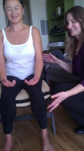 Here I am giving Wyn a non-touch aura healing. It is an energy cleansing. It helps to cleanse your energy channels and chakras, which does impact the body and how it feels. I like to think of it, as a spiritual massage!