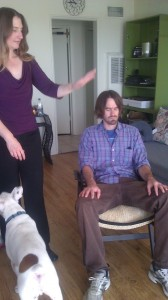 Here I am giving Tim an aura healing. Radar is helping!