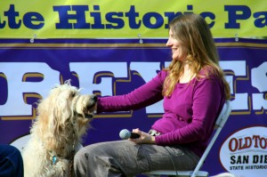 Sindi at Blessing of the Animals in Old Town San Diego Historical park in January of 2013. Here's a photo of Sindi doing a public demonstration of a reading and animal communication session during the event.
