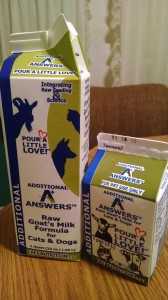 So excited that we will be carrying Answers Raw Goat's Milk for cats and dogs!